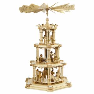 Barocke Weihnachtspyramide Christi Geburt, natur