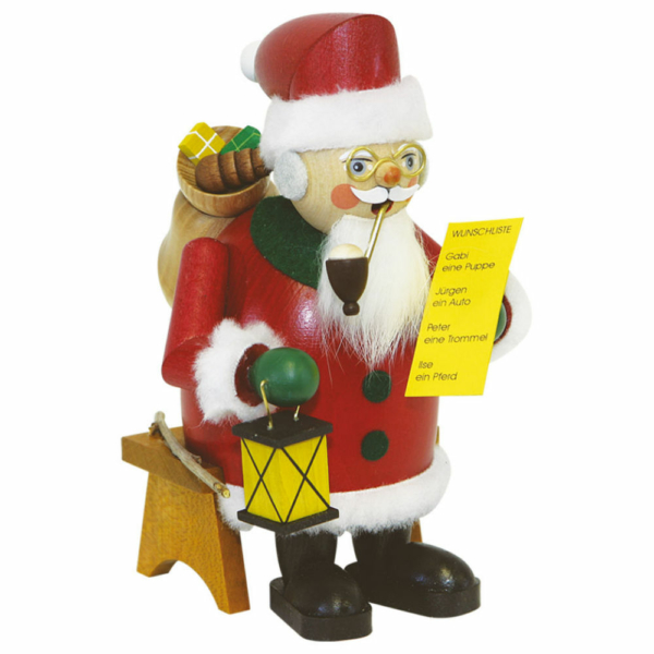 Räuchermann Weihnachtsmann mit Wunschzettel