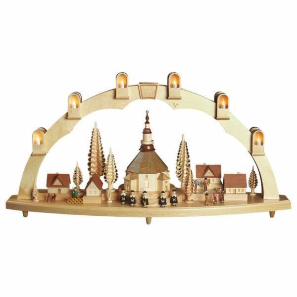 Schwibbogen groß. Seiffener Kirche mit Dorf, elektr. Beleuchtung_002-012-00953