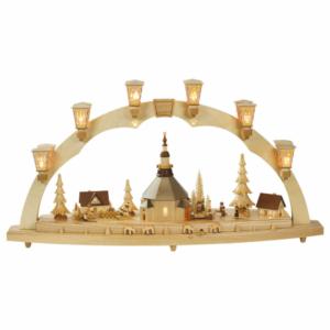 Schwibbogen Seiffener Kirche mit Kurrende und Spielwerk. elektrisch beleuchtet_002-012-00958