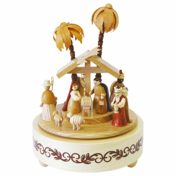 Spieldose Christi Geburt natur,