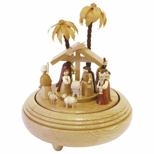 Spieldose Christi Geburt natur.