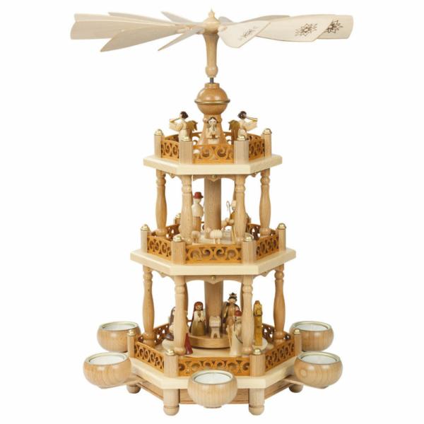 Weihnachtspyramide 2-stöckig Christi Geburt für Teelichter