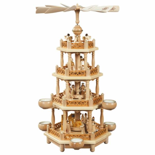 Weihnachtspyramide 3-etagig Christi Geburt für Teelichte