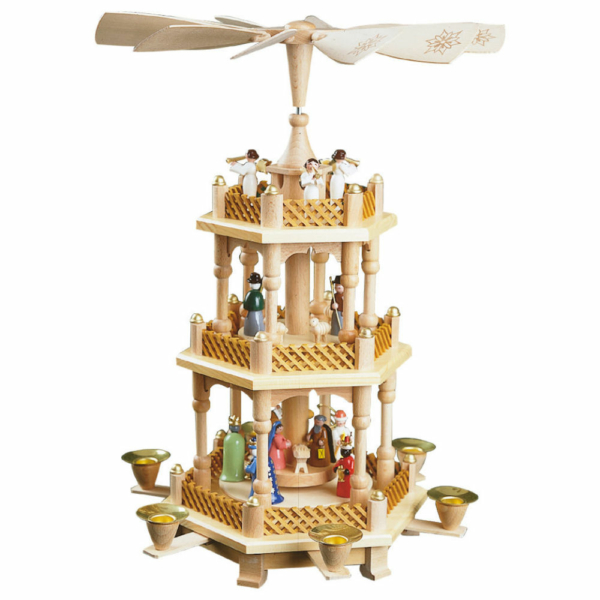 Weihnachtspyramide Christi Geburt 2-stöckig, Gestell Farbe Naturholz, farbige Figuren