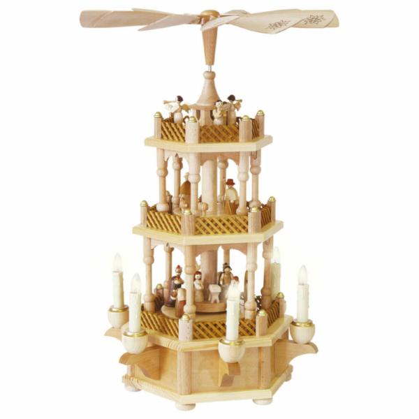 Weihnachtspyramide Christi Geburt 2-stöckig, Farbe Holz, elektr. Kerzen