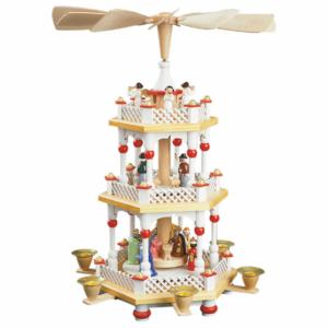 Weihnachtspyramide Christi Geburt 2-stöckig,Farbe Weiß, bunte Figuren, Details in Farbe Rot