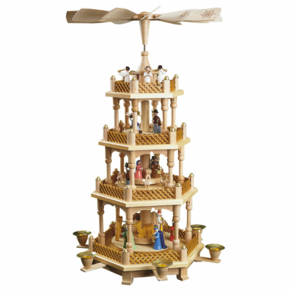 Weihnachtspyramide Christi Geburt, 3 Etagen, Farbige Figuren