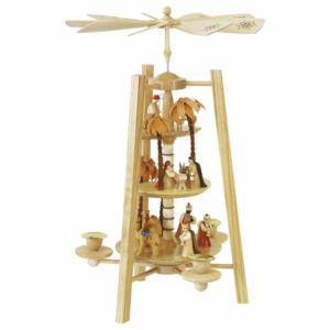 Weihnachtspyramide Christi Geburt 3-stöckig, natur