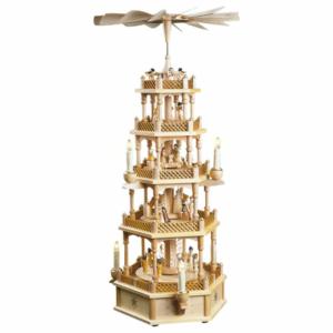 Große Weihnachtspyramide Christi Geburt 4 Etagen, elektrischer Antrieb, elektrische Beleuchtung