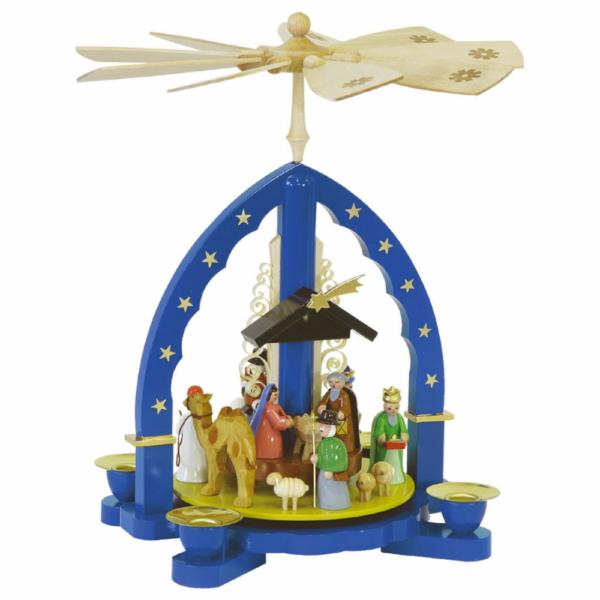 Weihnachtspyramide Heilige Drei Könige, blau_001-012-00807